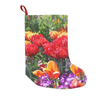 Meia De Natal Pequena Ondas florais dos carmesins de Falln