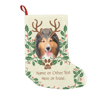Meia De Natal Pequena Os Antlers do Natal para o cão/gato personalizam a