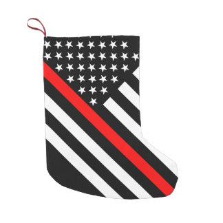 Meia De Natal Pequena Os EUA embandeiram a linha vermelha fina preto e