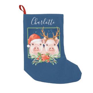 Meia De Natal Pequena Os porcos do Natal personalizaram a rena do papai