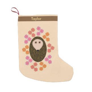 Meia De Natal Pequena Ouriço sonolento e meia personalizada flores