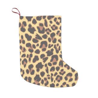 Meia De Natal Pequena Padrões da pele animal do impressão do leopardo