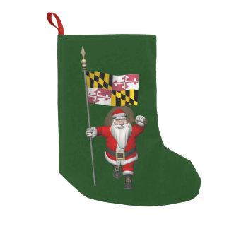 Meia De Natal Pequena Papai Noel alegre que visita Maryland