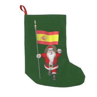 Meia De Natal Pequena Papai Noel com a bandeira da espanha