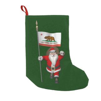 Meia De Natal Pequena Papai Noel com a bandeira de Califórnia