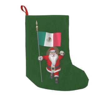 Meia De Natal Pequena Papai Noel com a bandeira de México
