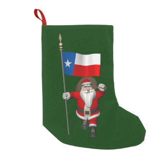 Meia De Natal Pequena Papai Noel com a bandeira de Texas