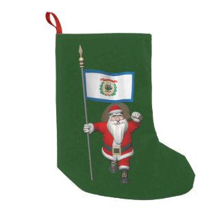 Meia De Natal Pequena Papai Noel com a bandeira de West Virginia