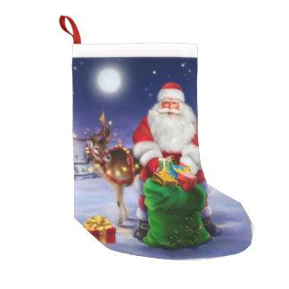 Meia De Natal Pequena Papai noel com rena