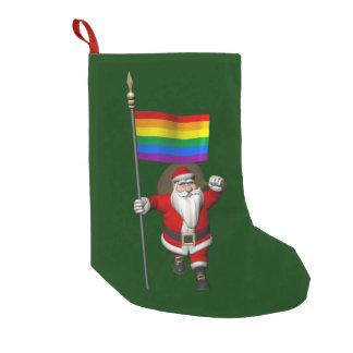 Meia De Natal Pequena Papai Noel orgulhoso com bandeira do arco-íris