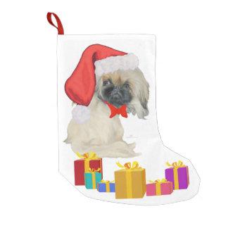 Meia De Natal Pequena Papai noel pequeno Pekingese