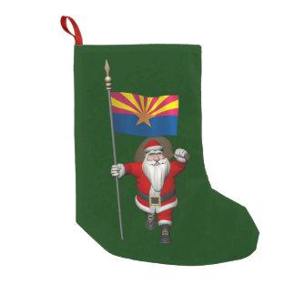 Meia De Natal Pequena Papai noel que acena a bandeira da arizona