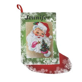 Meia De Natal Pequena Papai Noel vermelho & esverdeia SUA neve do NOME &