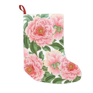 Meia De Natal Pequena Peônias cor-de-rosa no branco