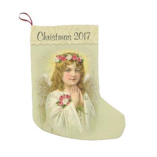 Meia De Natal Pequena Personalize o anjo bonito com rosas