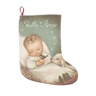 Meia De Natal Pequena Personalize o bebê Jesus