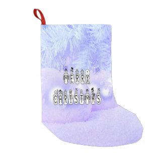 Meia De Natal Pequena Pessoas da pia batismal da neve do Feliz Natal,