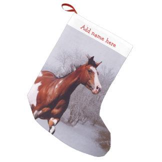 Meia De Natal Pequena Pinte a meia do Natal da neve do cavalo