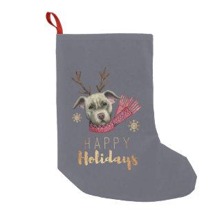 Meia De Natal Pequena Pitbull da rena do Natal com as pias batismais do