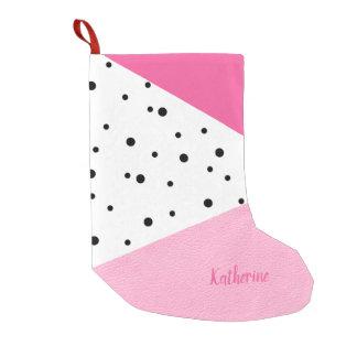 Meia De Natal Pequena Pontos pretos de couro cor-de-rosa geométricos