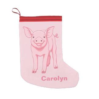 Meia De Natal Pequena Porco cor-de-rosa bonito do bebê