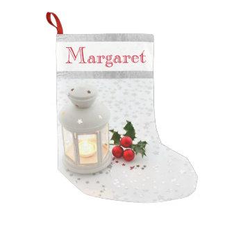 Meia De Natal Pequena Prata do azevinho da vela da lanterna da meia do