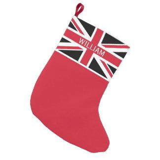 Meia De Natal Pequena Preto, vermelho e branco do ~ de Union Jack do
