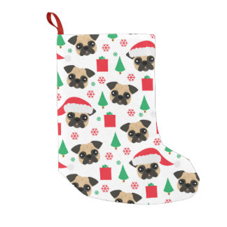 Meia De Natal Pequena Pug bonito do Natal