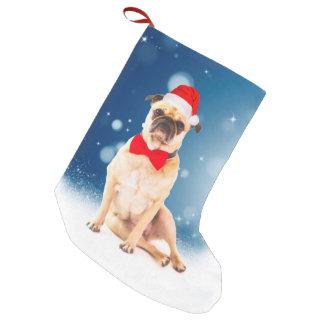 Meia De Natal Pequena Pug com o chapéu do papai noel do Natal