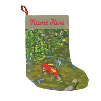 Meia De Natal Pequena Reflexões da água e a meia dos peixes de Koi