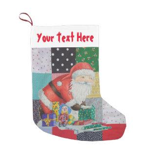 Meia De Natal Pequena retalhos coloridos do tecido do vintage com o