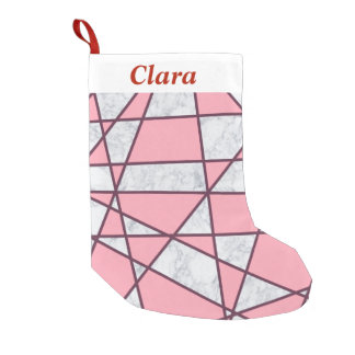 Meia De Natal Pequena rosa pastel e vermelho de mármore brancos