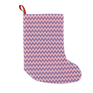 Meia De Natal Pequena Roxo e máscaras de Chevron cor-de-rosa