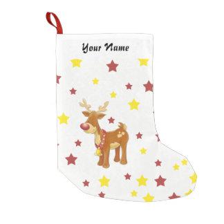 Meia De Natal Pequena Rudolph as estrelas cheiradas vermelhas do Natal
