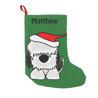 Meia De Natal Pequena Sheepdog do divertimento na meia do Natal do