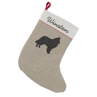 Meia De Natal Pequena Silhueta belga do Sheepdog com texto feito sob