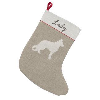 Meia De Natal Pequena Silhueta do cão de german shepherd com texto feito