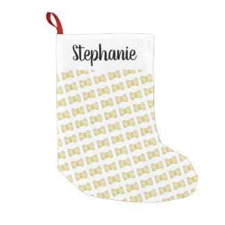 Meia De Natal Pequena Skein do fio •Folha de ouro do falso + Seu nome