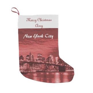 Meia De Natal Pequena Skyline da Nova Iorque do Feliz Natal