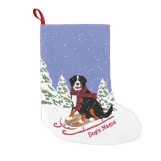 Meia De Natal Pequena Sledding personalizado do cão de Bernese Mt do