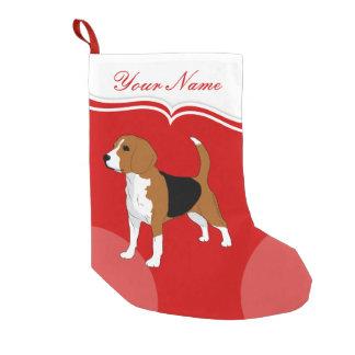 Meia De Natal Pequena Sólido vermelho do cão do lebreiro personalizado