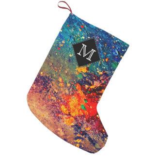 Meia De Natal Pequena Splatter tumultuoso do arco-íris do monograma do