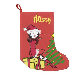 Meia De Natal Pequena Sra. insolente Claus Natal Meia
