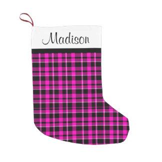 Meia De Natal Pequena Tartan cor-de-rosa e preto personalizado da xadrez