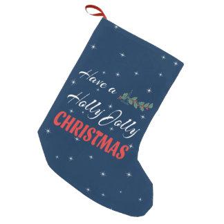 Meia De Natal Pequena Tenha um Natal alegre do azevinho