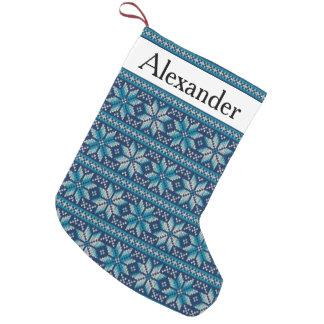 Meia De Natal Pequena Teste padrão branco da malha do floco de neve azul