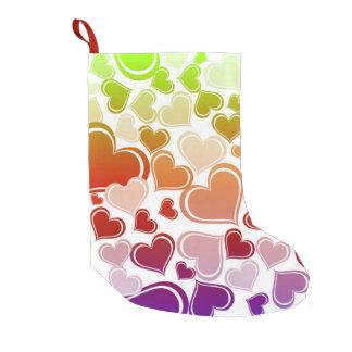 Meia De Natal Pequena Teste padrão brilhante Funky dos corações
