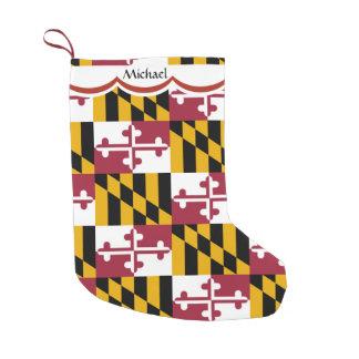 Meia De Natal Pequena Teste padrão da bandeira de Maryland personalizado