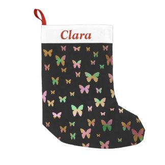Meia De Natal Pequena teste padrão de borboleta cor-de-rosa do ouro do