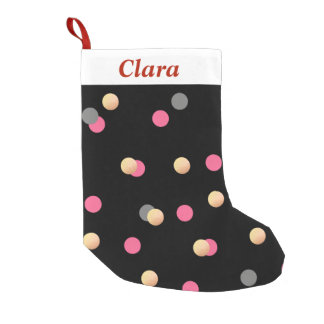 Meia De Natal Pequena teste padrão de pontos cinzento dos confetes do